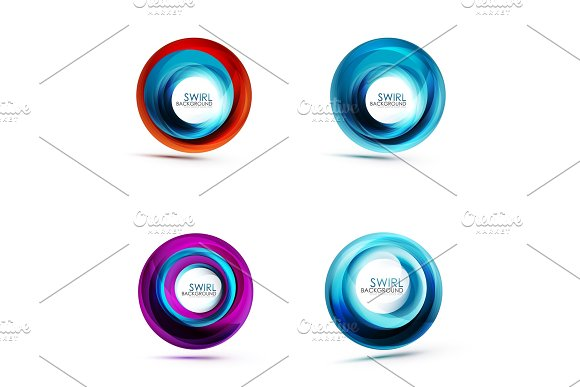 Swirl Circular Icons Spiral Motion And Rotation In Circle Shapes