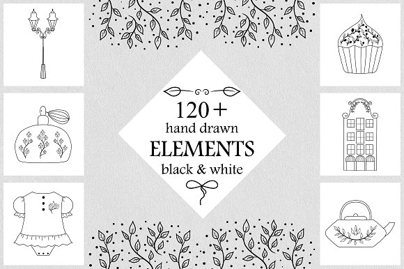 120 Hand Drawn Vector Elements