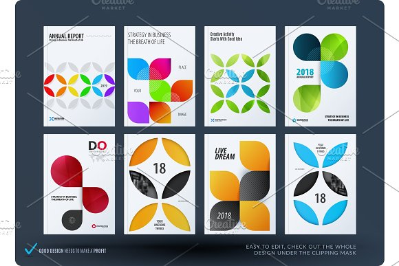 Business Set Of Design Brochure Abstract Annual Report Horizontal Cover Flyer In A4