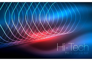 Outline hexagons, glowing geometric shapes, digital techno abstract background