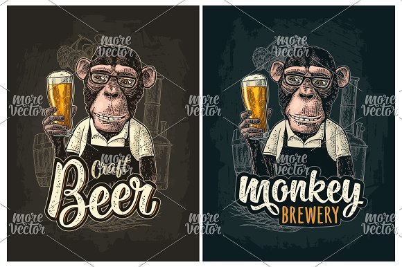Monkey Dressed Apron Hold Beer Glass