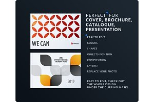 Presentation. Abstract vector set of modern horizontal templates with colourful circle segments, flower shape