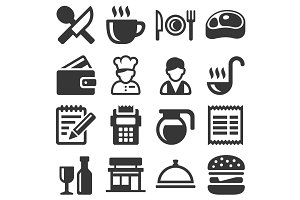 Restaurant and Kitchen Icons Set