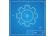 Vector blueprint gear card.