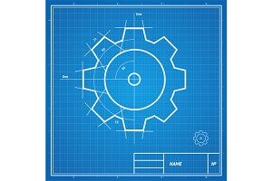 Vector blueprint gear card.