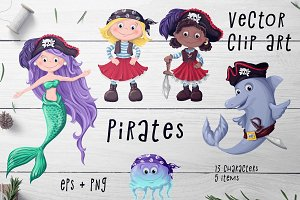 Pirates Set – Vector Clip art