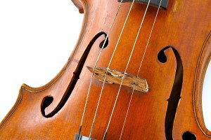 Close up of old wooden violin