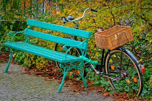 Bicycle with a wicker basket on the