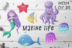 Marine life Set – Vector Clip art