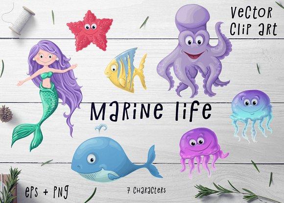 Marine Life Set Vector Clip Art