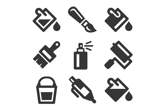 Paint Bucket Tool Icons Set
