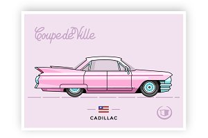 Old vector Cadillac Coupe de Ville