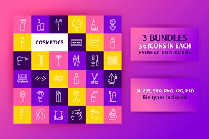 Cosmetics Line Art Icons