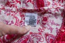cotton garment label in flower
