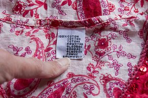 cotton garment label in flower
