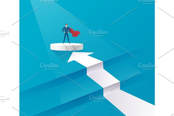 Business Leadership Concept With Businessman Leader Standing On The Podiums