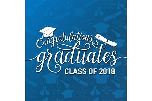 Vector on seamless graduations background congratulations graduates 2018 class