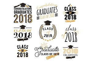 Graduation wishes overlays, labels set. Retro graduate class of 2018 badges