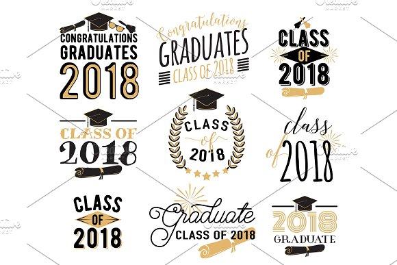 Graduation Wishes Overlays Labels Set Retro Graduate Class Of 2018 Badges
