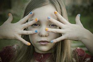 girl with nail polish colors