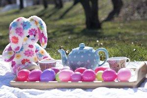 Easter tea party setup