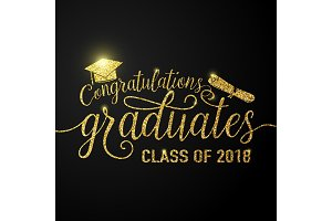 Vector on black graduations background congratulations graduates 2018 class