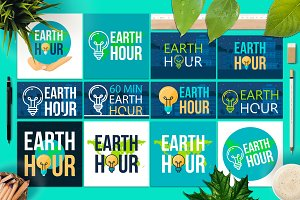 Earth Hour Banners With Lamp