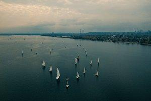 Aerial drone landscape river yachts