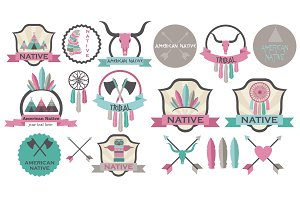 American native icons set