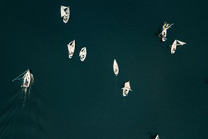 Aerial drone view yachts on river