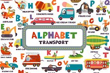 alphabet with transport and animals