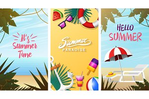 Nautical Summer cards. Marine vacation on the beach. Tropical background, camera and anchor, milkshake, deckchair, toucan and parrot. Poster or background. retro travel. Vintage holiday at sea.