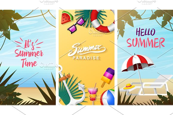 Nautical Summer Cards Marine Vacation On The Beach Tropical Background Camera And Anchor Milkshake Deckchair Toucan And Parrot Poster Or Background Retro Travel Vintage Holiday At Sea