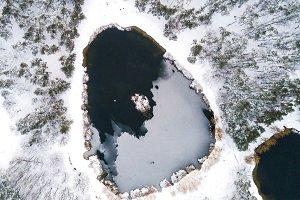 Winter aerial drone landscape