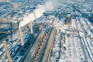 Industrial aerial view power plant