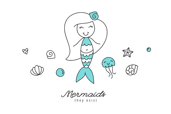 Mermaids, pattern and card