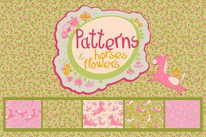 Patterns with horses and flowers