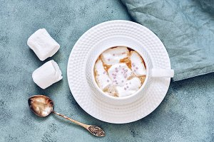 Coffee with marshmallow in white Cup