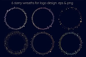 6 Starry Wreath For Logo. EPS+PNG