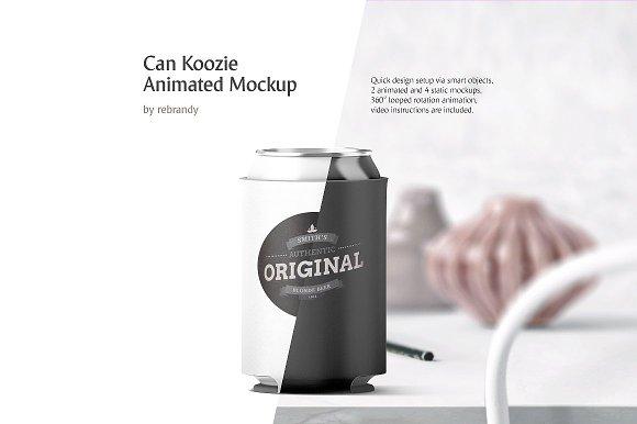 Free Can Koozie Animated Mockup