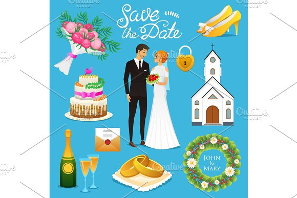 Bride And Groom Wedding Ceremony Set Newlyweds Icons Vector Illustration Married Couple Summer Vintage Rustic Cake And Rings Bouquet Flowers And Church Shoes And Champagne Wreath And Letter