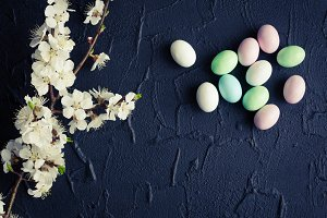 Easter eggs on black background