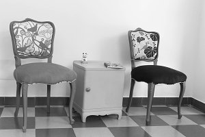 Two French Vintage Chairs in Black a