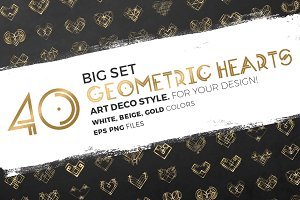 40 Vector Hearts. Art Deco Style.