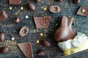 Easter composition with chocolate