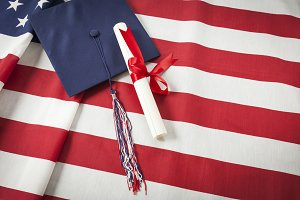 Graduation Cap with Tassel on Flag