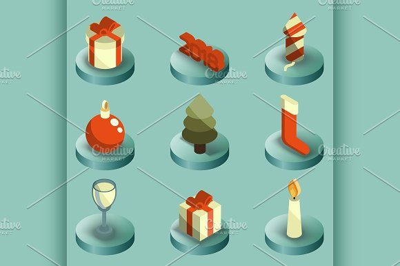 New Year Color Isometric Icons