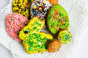 Colorful decorated Easter cookies