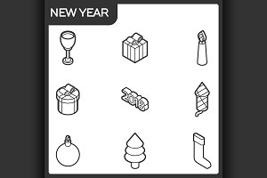 New year outline isometric icons