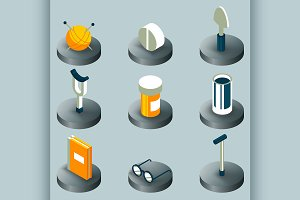 Old age color isometric icons